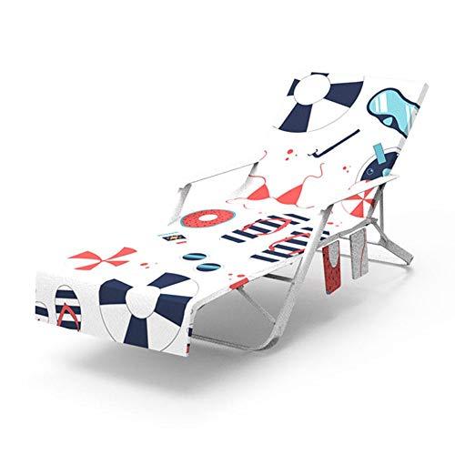 Weitong Strandkorb Handtuch Lounge Chair Cover, Strandtasche Garten Sonnenliege Handtuch Stuhl Strandtuch mit Taschen schnell trocknende Handtücher