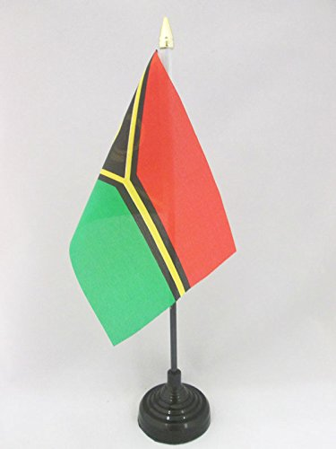 AZ FLAG TISCHFLAGGE Vanuatu 15x10cm goldene splitze - Republik Vanuatu TISCHFAHNE 10 x 15 cm - flaggen
