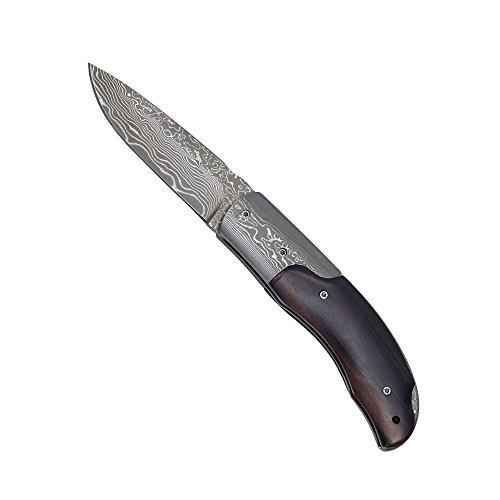 Haller Unisex– Erwachsene Damasttaschenmesser Griff Ebenholz Taschenmesser, braun, one size