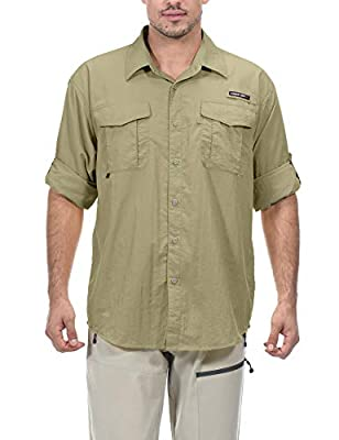 Little Donkey Andy Men's UPF 50+ UV Protection Shirt, Long Sleeve Fishing Shirt, Breathable and Fast Dry Pale Khaki XL