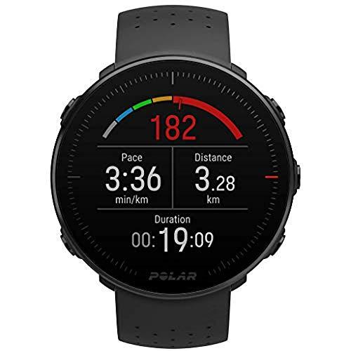 Polar Vantage M - Montre avec GPS et fréquence cardiaque - Programmes multisports et course à pied - Résistant à l'eau, léger - Noir Taille M / L