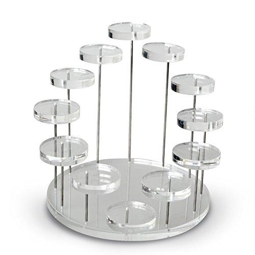 Happysource 12トレイジュエリーディスプレイスタンド クリアアクリル製 オーガナイザー リングイヤリング ブレスレット ネックレスショーホルダー コレクション展示 12段ラック フィギュアディスプレイステージ 棚ツール