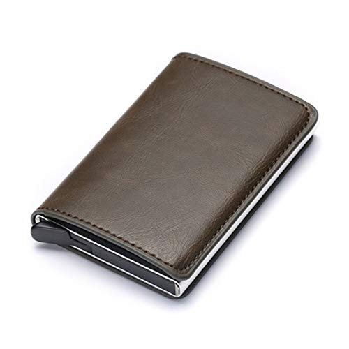 Aluminum Metal Credit Business Mini Card Wallet Man Women Smart Wallet Business Card Holder Rfid Wallet-Coffee X-12A