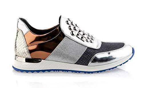Baldinini 6328 Italian Silver Leather Sneakers