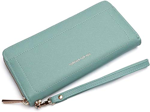ZLYY Monedero largo de piel para mujer, con 12 compartimentos para tarjetas y compartimento para móvil, color marrón, verde (Verde) - ZLYY-QOZ4BU-3