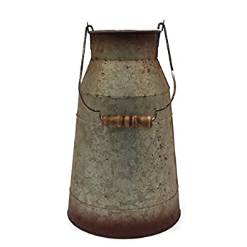 CVHOMEDECO 10 Inch Galvanized Metal Milk Can with Wooden Handle Old Rustic Farmhouse Pitcher Jug Vase for Home and Garden Décor.