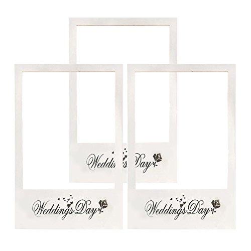 LUOEM Wedding Photo Booth Cornice Giorno delle nozze Immagine Selfie Frame Anniversary Paper Photo Booth Cornice Puntelli per matrimonio Bridal Shower Party Favore, Confezione da 3