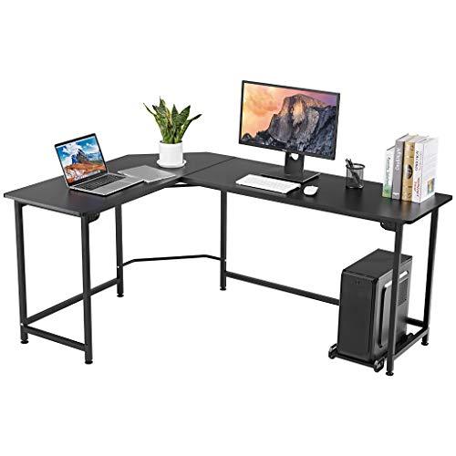 LANGRIA Escritorio para computadora de Madera y Metal en Forma de L con Soporte para CPU, Mesa de estación de Trabajo de Esquina Grande con Carga Gruesa y máxima de 132 Libras (Negro)