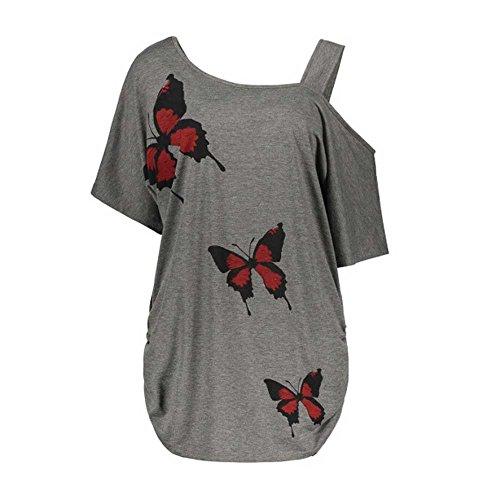 VEMOW Sommer Elegante Damen Große Größe Frauen Schmetterling Druck Oansatz Schwarz T-Shirt Kurzarm Casual Täglichen Party Tops Bluse rückenfrei Pullover(X1-Grau, 54 DE / 5XL CN)