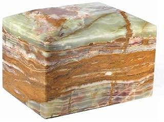 Khan Imports Decorative Onyx Stone Urn Vault, Marble Cremation Urn Box for Adult Ashes - Large