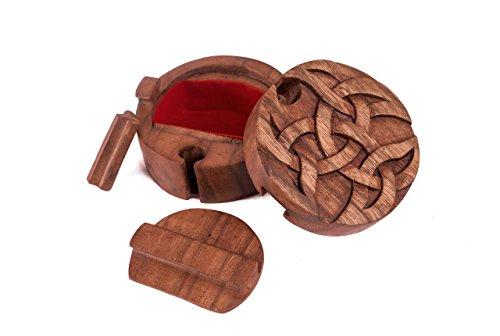 WINDALF Celtic Schmuckdose ROYA Ø 9 cm Keltische Offene Dreifalt Handarbeit aus Holz