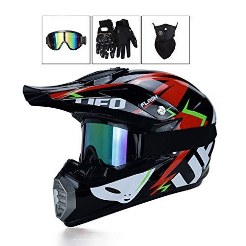 LEENP Motocross-Helm, Herren Cross-Helm Sets mit Brille/Maske/Handschuhe, Motorrad Sports Quad Motorräder Off-Road DH Enduro-Helm Motorradhelm für Männer Damen, UFO,S