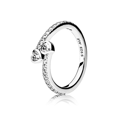 Pandora Jewelry - Two Sparkling Hearts Ring for Women in Sterling Silver with Clear Cubic Zirconia, Size 8.5 US / 58 EURO
