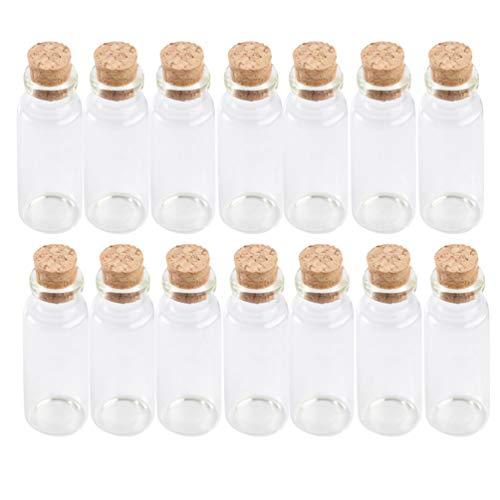 Hemoton 20 Stück Glasflaschen Gläser Gewürzgläser-Set mit Korken Mini Glasfläschchen Bonbon Gläser Set, Aufbewahrung von Ölen, Reagenzglas 50ml