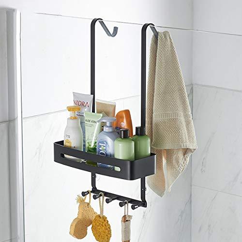 Estante de ducha sin taladrar, estantería de ducha para colgar la mampara de ducha, estante de baño, estantería con toallero y ventosa Para Baño y Cocina - Doble capa negra Single layer-black