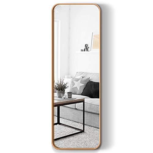 Espejo de cuerpo entero de aleación de aluminio de lujo ligero espejo de cuerpo entero espejo de montaje en pared para el hogar espejo de piso 40 * 120 cm marco de aleación de aluminio dorado espejo