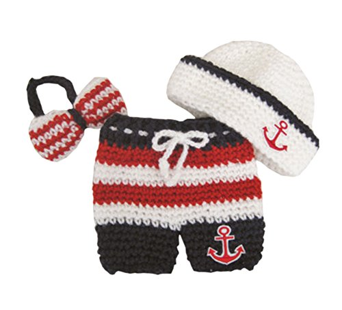 Pinbo Newborn Baby Photography Prop Crochet Sailor Anchor Bow Hat Pants