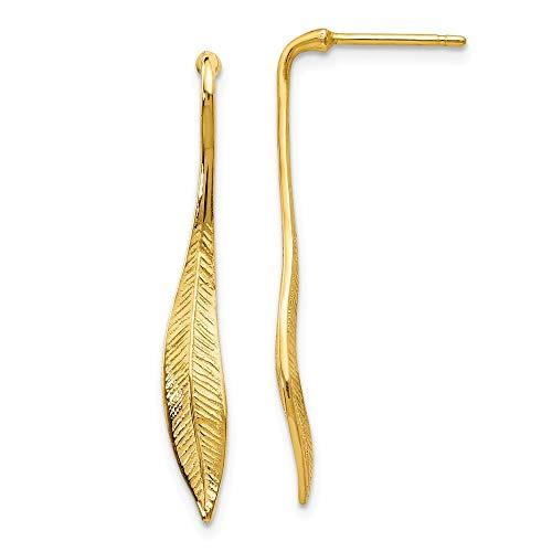 Pendientes largos de oro amarillo de 14 quilates con textura de plumas pulidas y colgantes para mujer