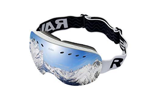 Ravs Skibrille Snowboardbrille Schutzbrille Ski Goggles mit Silber gespiegelter Scheibe Rahmenlos