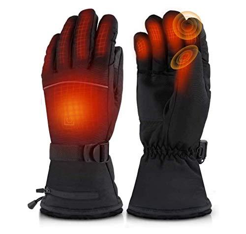 COOTA Guanti riscaldabili Invernali per Moto, Ricaricabili, Impermeabili, per Pesca, Sci, Ciclismo, Caccia in Inverno, Guanti Termici per Uomo e Donna, con 3 Temperature Regolabili (Black)