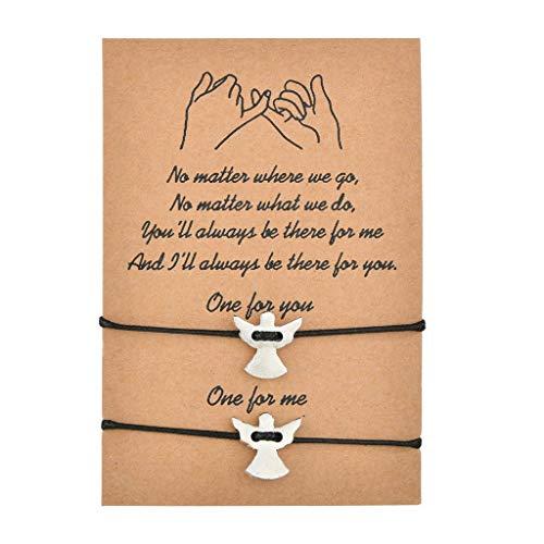 MIORIO 2 pulseras de querubín de la promesa de ángel, amistad, distancia de pareja, pulsera a juego