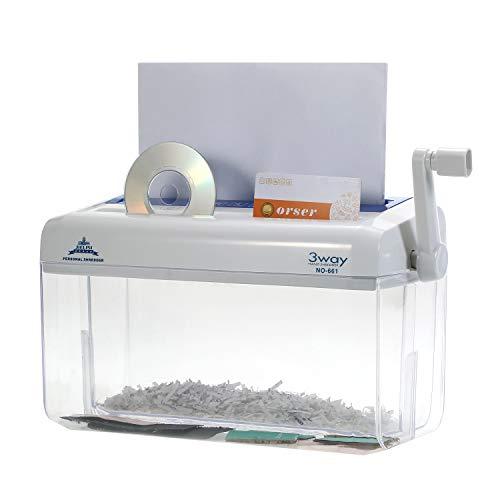 Aibecy Mini distruggi documenti, trituratore di carta a mano portatile A4 Manuale per uso domestico Shredder Documento File CD Strumento di taglio della carta di credito per l uso a casa in ufficio