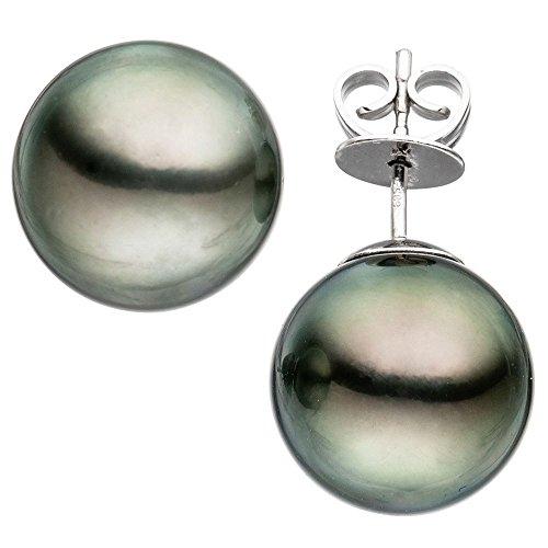 Par de pendientes de perlas de Tahiti gris 12-13mm 585 pendientes de oro blanco