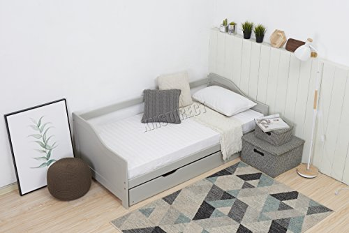 WestWood Single 3ft Day Bed Grey Frame with Trundle Guest Solid Wood Daybed Underbed No Mattress New