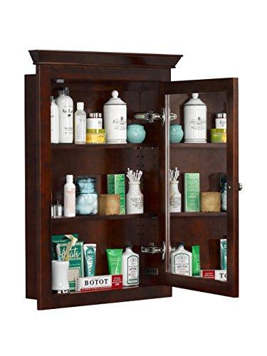 Ronbow 617026-F13 Transitional Solid Wood Framed Medicine Cabinet, Café Walnut