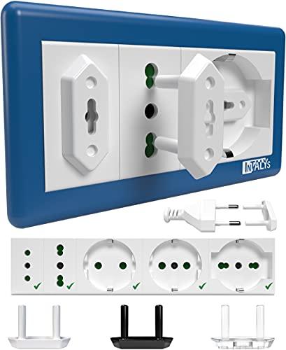 InTALYs® Copriprese per Bambini, 20 Tappi Copri Prese Elettriche di Sicurezza Universali Italiane e Schuko (Bianco)