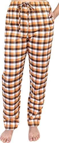 Pantalón de Pijama para Mujer 100% algodón Tejido Franela Casual y cómodo (L, Naranja)