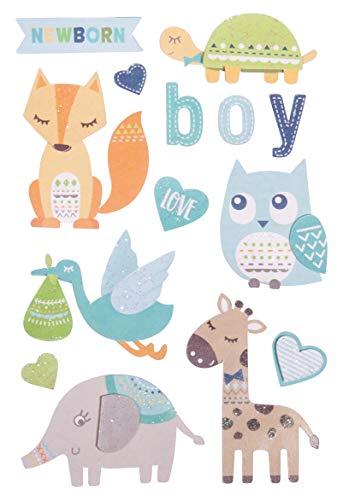 Rayher 50083358 3D Papier-Sticker Baby, mit Effekten, babyblau, 14 Motive, zum Basteln und Dekorieren zur Geburt