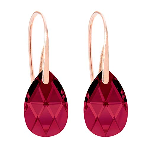 Ah! Jewellery Women's 16mm Ruby Pear Crystals Fish Hook Earrings. 18K Rose Gold Vermeil Over Sterling Silver, Stamped 925. 3gr Total Weight