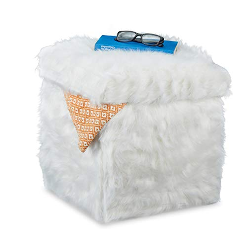 Relaxdays Sitzwürfel Fell, Faltbar, Gepolstert, Plüsch, Hocker mit Stauraum, 40 L, Sitzbox HxBxT: 39 x 38 x 38 cm, weiß