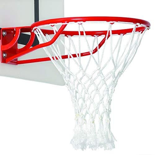 BWA Sports-Redes de baloncesto, color blanco con flecos, polipropileno, 6 mm de diámetro