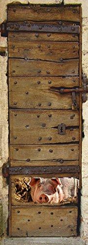 Türposter 100x200cm Stall Türaufkleber Möbelfolie Schwein Sau Fenster 954tp