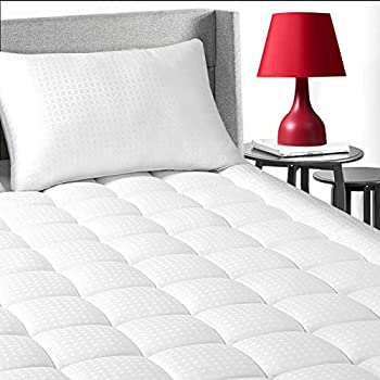 EDILLY King Size Cooling Mattress Topper Premium Hotel Quality Mattress Pad Cover Protector for Bed Cotton Top Pillow Top with 8-21  Deep Pocket