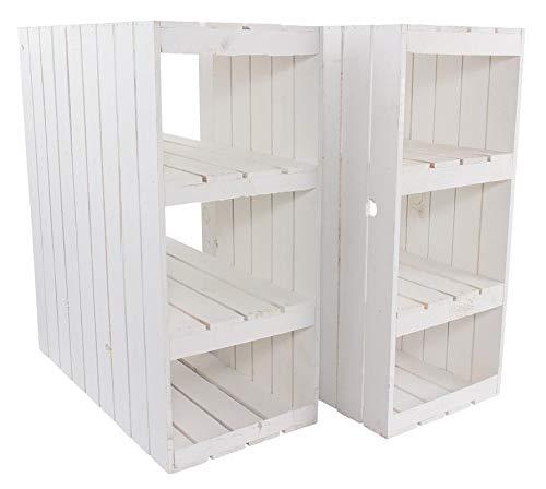 3X Vintage-Möbel 24 Schreibtisch Unterbau aus weißen Holzkisten (Links) 74cm x 65cm x 35cm Obstkisten Weinkiste Regal Weiss Zwischenbretter Landhaus Vintage Holzbox Apfelkiste Einlegeböden Tisch