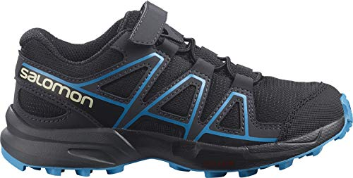 Salomon Speedcross Bungee K, Zapatillas De Trail Running Y Outdoor Actividades, Negro (Black/Ebony/Hawaiian Ocean), 30 EU