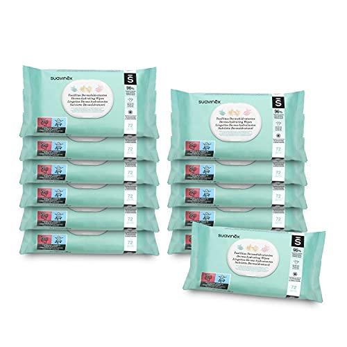 Suavinex, Lingettes Dermohydratantes pour bébé, Convient aux peaux atopiques, 96% d'ingrédients d'origine naturelle, 100% biodégradables, 864 lingettes (Pack 12 Sachets x 72 Lingettes)