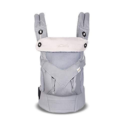 SONARIN 4 en 1 Transpirable Mochila portabebé,Malla Transpirable 3D,Capucha de Dormir,para recién nacidos y bebés(3-48 meses), carga máxima 20 kg,Múltiples posiciones,Marsupio portabebé(Gris)