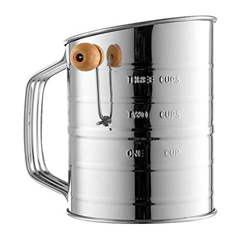 GADHNN Sifter de Farine de Style de manivelle en Acier Inoxydable, 3 Tasse, Tamis à la Farine de Farine d'ingrédients secs pour la Cuisson, Accessoires de Cuisson (Color : Silver)