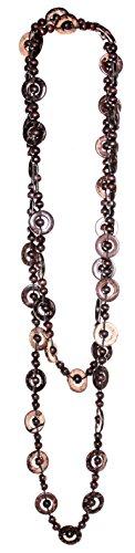 Budawi® - braune Kette Halskette aus Holz ca. 160 cm lang, Holzkette in braun