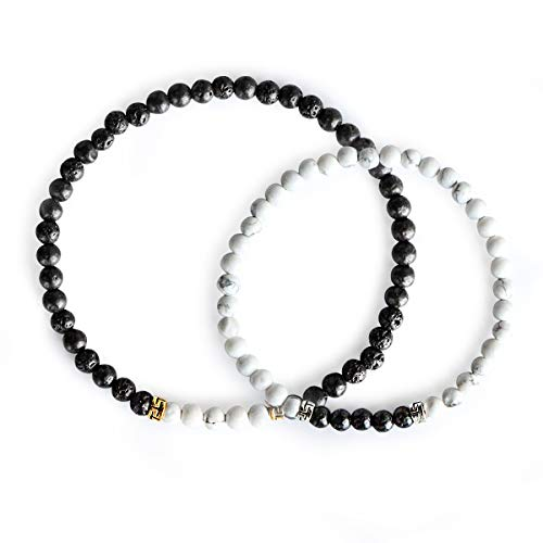 Me&Hz Couple Friendship Distant Bracelets Healing Black Onyx Turquoise Stretch Beaded Bracelets for Lovers