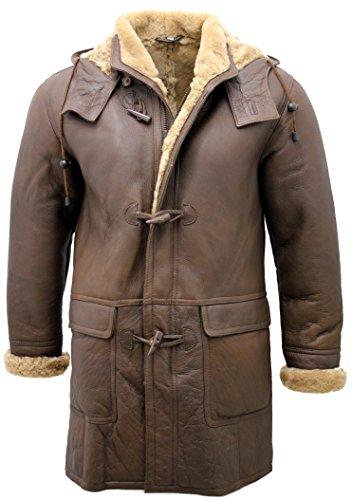 Infinity Neue Männer Lange Warm Brown Winter-mit Kapuze EchtlammfellSchaffell-Leder Dufflecoat Custom Fit (M)