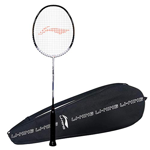 Li-Ning CL 505 (Strung) Badminton Racket with Free Full Cover Graphite Strung, (White/Navy) with Free Full Cover