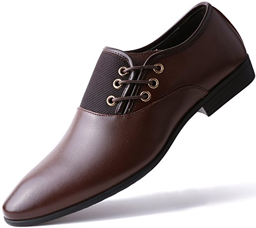 Marino Oxford Dress Shoes for Men – Formal Leather Mens Shoes – Brown – Side Lace – 10 D(M) US
