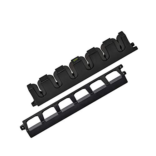 """Booms Fishing WV2 Fishing Pole Holder Wall Mount, Garage Fishing Rod Holder, Vertical Fishing Pole Rack, Fishing Rod Rack Holds Up to 6 Rods, 13.6"""" Black"""