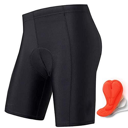 Men's Cycling Shorts 3D Padded Bicycle Riding Pants Quick Dry Bike Tights (Black, L)