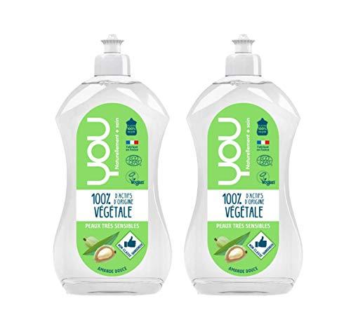 YOU - Liquide Vaisselle Ecologique Peaux Très Sensibles Amande Douce - Lot de 2 x 500 ml